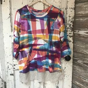 Logo colorful paint stripes with lace trim tunic